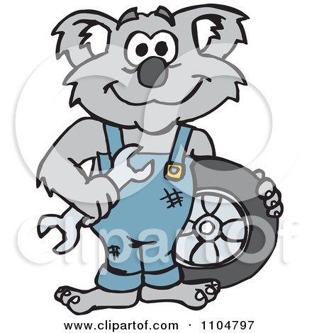 Clipart Happy Auto Mechanic Koala With A Wrench And Tire - Royalty Free Vector Illustration by Dennis Holmes Designs