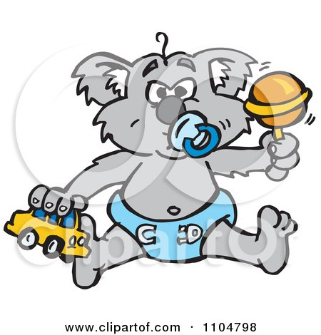 Clipart Grumpy Baby Koala With A Pacifier Toy Car And Rattle - Royalty Free Vector Illustration by Dennis Holmes Designs