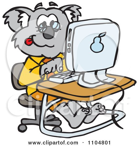 Clipart Professor Koala Using A Desktop Computer - Royalty Free Vector Illustration by Dennis Holmes Designs