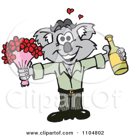 Clipart  Romantic Courting Koala With Champagne And Flowers - Royalty Free Vector Illustration by Dennis Holmes Designs