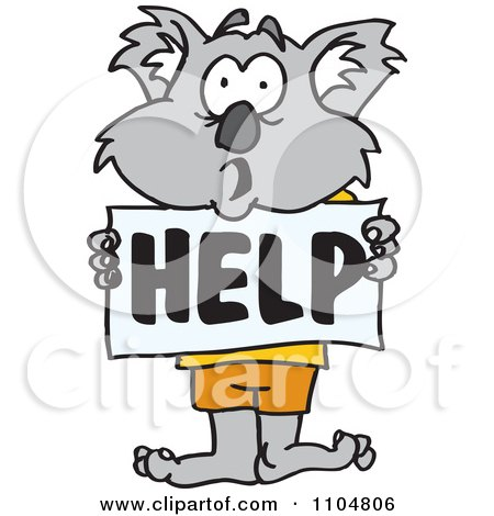Clipart Koala Holding A Help Sign - Royalty Free Vector Illustration by Dennis Holmes Designs