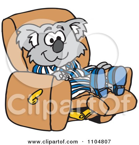 Clipart Relaxed Koala In Pajamas Resting In A Recliner Chair - Royalty Free Vector Illustration by Dennis Holmes Designs
