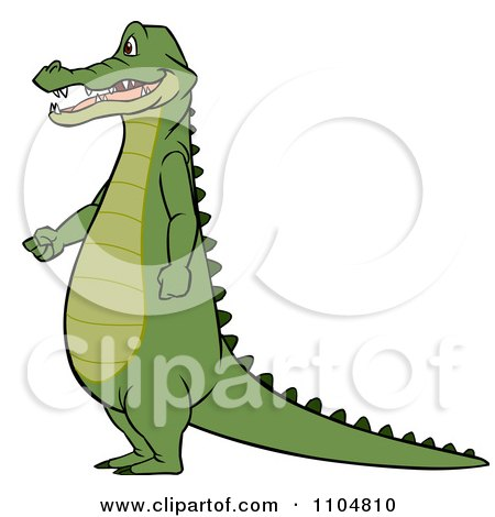 Clipart Gator Standing In Profile With His Hands Fisted ...