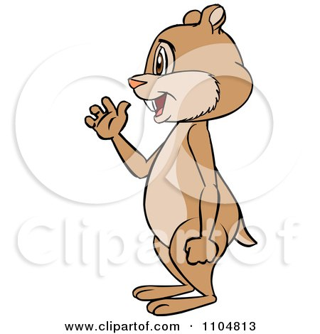 Clipart Happy Cute Chipmunk Waving In Profile - Royalty Free Vector Illustration by Cartoon Solutions