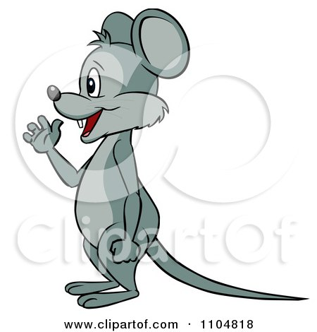 Clipart Happy Mouse Waving In Profile And Standing Upright - Royalty Free Vector Illustration by Cartoon Solutions