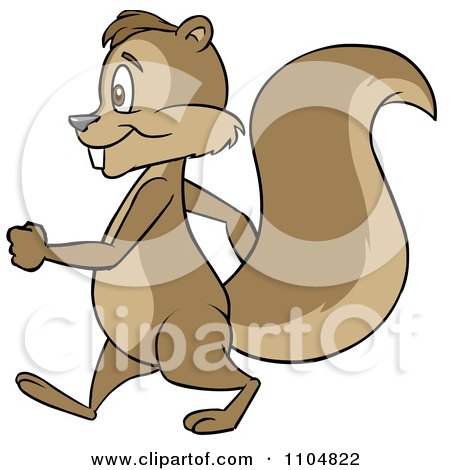 Clipart Happy Squirrel In Profile Walking Upright - Royalty Free Vector Illustration by Cartoon Solutions
