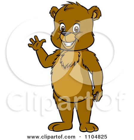 Clipart Happy Cute Bear Cub Standing And Waving - Royalty Free Vector Illustration by Cartoon Solutions