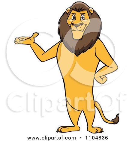 Clipart Happy Male Lion Presenting And Standing Upright - Royalty Free Vector Illustration by Cartoon Solutions