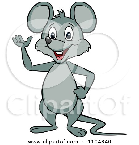 Happy Mouse Waving And Standing Upright Posters, Art Prints