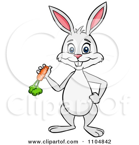 Clipart Happy Rabbit Holding A Carrot And Standing Upright - Royalty Free Vector Illustration by Cartoon Solutions