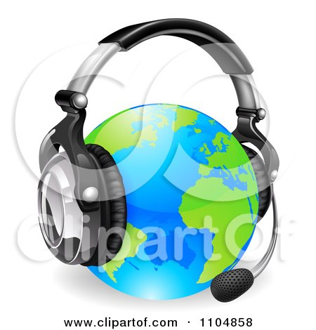 Clipart 3d Globe Wearing A Customer Service Headset - Royalty Free Vector Illustration by AtStockIllustration