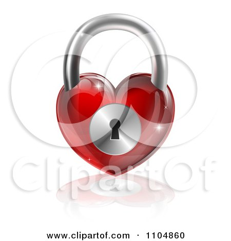 Clipart 3d Shiny Red Heart Padlock And Reflection - Royalty Free Vector Illustration by AtStockIllustration