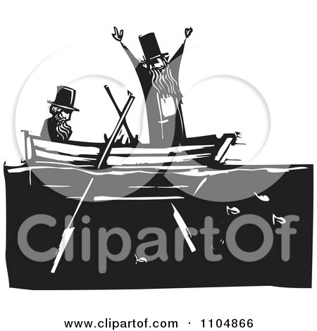 Clipart  Two Men In Top Hats In A Row Boat Over Fish Black And White Woodcut - Royalty Free Vector Illustration by xunantunich