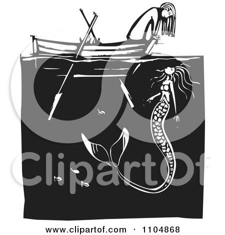 Clipart Girl Looking At A Mermaid Over The Front Of A Row Boat Black And White Woodcut - Royalty Free Vector Illustration by xunantunich