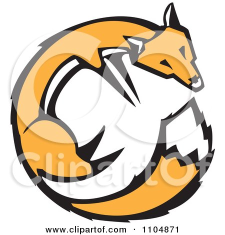 Clipart Orange Fox Circle Woodcut - Royalty Free Vector Illustration by xunantunich