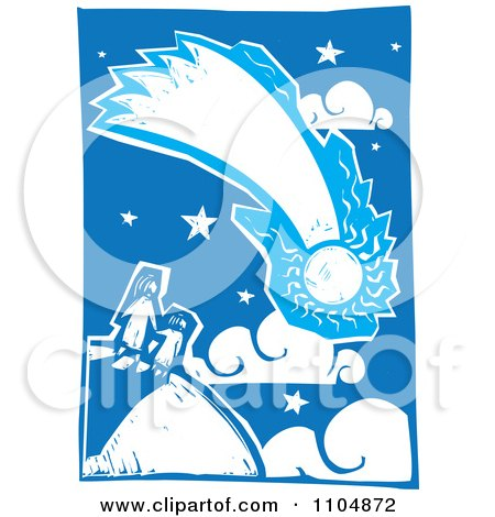 Clipart Mother And Child Watching A Comet Blue And White Woodcut - Royalty Free Vector Illustration by xunantunich
