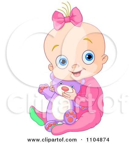 Clipart Happy Baby Girl Holding A Teddy Bear And Sitting In Pink Sleeper Pajamas - Royalty Free Vector Illustration by Pushkin