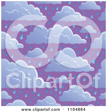 Clipart Seamless Cloud And Rain Sky Background - Royalty Free Vector Illustration by visekart