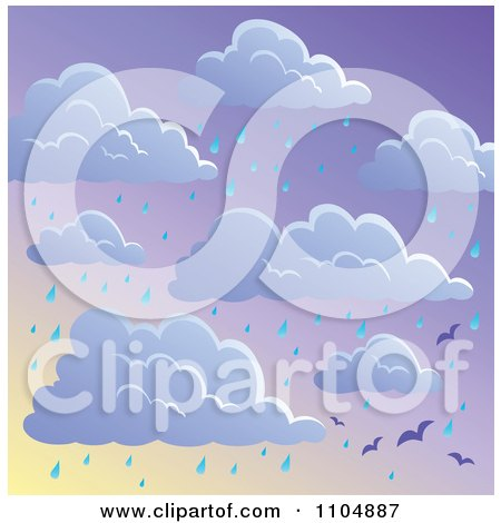 Clipart Seamless Cloud And Rainy Seagull Sky Background - Royalty Free Vector Illustration by visekart