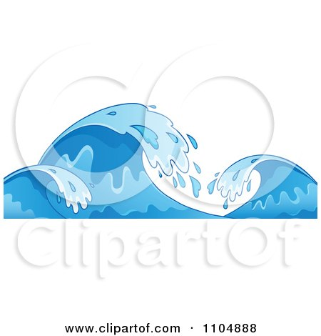 Clipart Blue Ocean Waves And Splashes - Royalty Free Vector Illustration by visekart