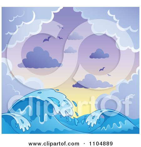 Clipart Blue Ocean Waves And Splashes With Gulls Clouds And A Gradient Sky - Royalty Free Vector Illustration by visekart