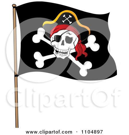Clipart Olly Roger Pirate Flag - Royalty Free Vector Illustration by visekart