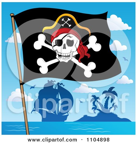 Clipart Olly Roger Pirate Flag And Ship By An Island - Royalty Free Vector Illustration by visekart