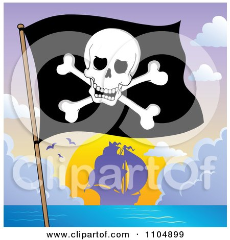 Clipart Olly Roger Pirate Flag And Ship At Sunset - Royalty Free Vector Illustration by visekart