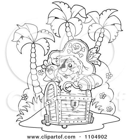 Clipart Outlined Hook Hand Pirate And Parrot On An Island With Treasure - Royalty Free Vector Illustration by visekart