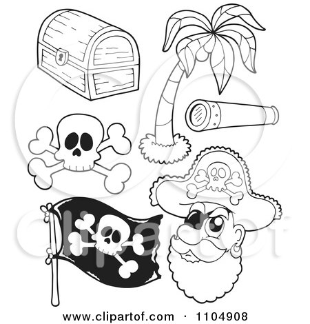 Clipart Outlined Treasure Chest Palm Tree Spyglass Skul And Crossbones Flag And Pirate - Royalty Free Vector Illustration by visekart
