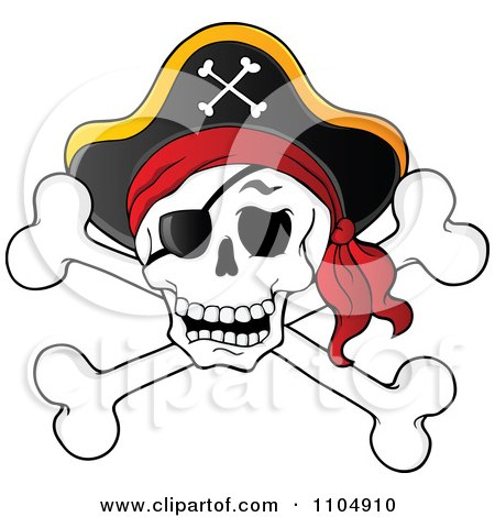 Clipart Pirate Skull And Cross Bones With A Hat - Royalty Free Vector Illustration by visekart
