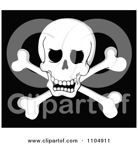 Clipart Pirate Skull And Cross Bones On Black - Royalty Free Vector Illustration by visekart