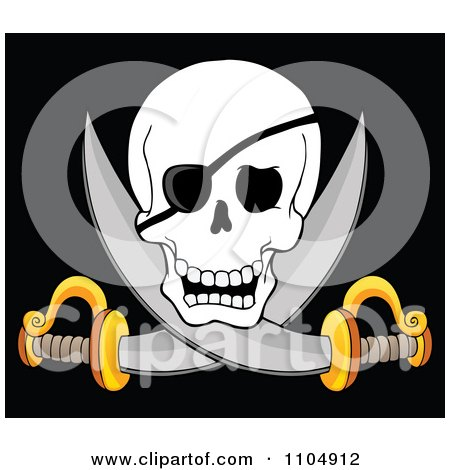 Clipart Pirate Skull And Cross Swords On Black - Royalty Free Vector Illustration by visekart
