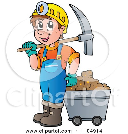 Clipart Happy Miner With A Cart And Pickaxe - Royalty Free Vector Illustration by visekart