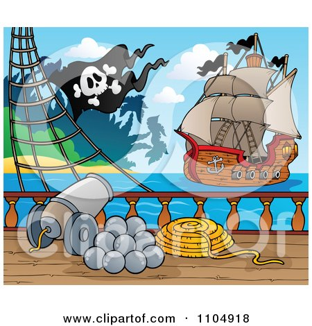 Clipart Canon On A Pirate Ship Deck Pointed Toward Another Ship - Royalty Free Vector Illustration by visekart