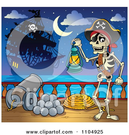 Clipart Skeleton Pirate Carrying A Lantern On Deck During A Battle - Royalty Free Vector Illustration by visekart