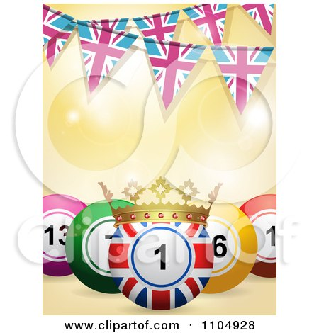 Clipart 3d Union Jack Bingo Ball With A Crown And Pink And Blue Union Jack Bunting Flags - Royalty Free Vector Illustration by elaineitalia