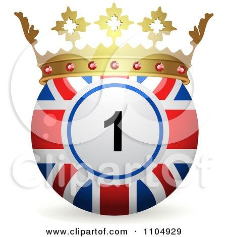 Clipart 3d Union Jack Flag Bingo Ball With A Crown - Royalty Free Vector Illustration by elaineitalia