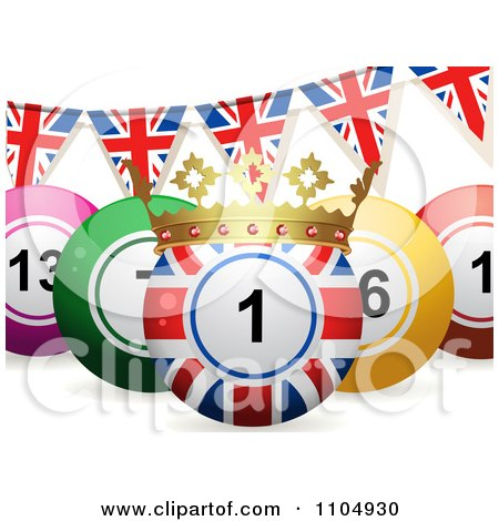 Clipart 3d Union Jack Bingo Ball With A Crown And Union Jack Bunting Flags - Royalty Free Vector Illustration by elaineitalia