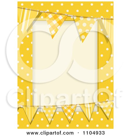 Clipart Patterned Bunting Flags And Polka Dots On Yellow With Copyspace - Royalty Free Vector Illustration by elaineitalia