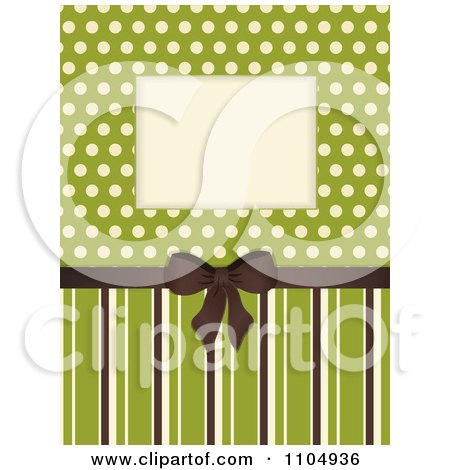 Clipart Retro Invitation Background With A Brown Bow And Frame Over Polkda Dots On Green With Stripes - Royalty Free Vector Illustration by elaineitalia