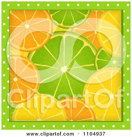 Clipart Green Polka Dots Framing Orange Lime And Lemon Slices - Royalty Free Vector Illustration by elaineitalia