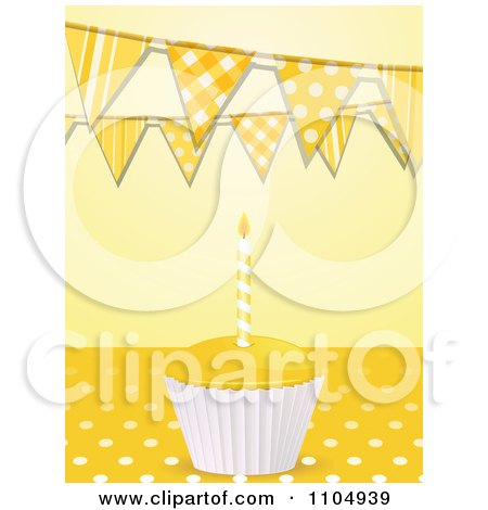 Clipart 3d Birthday Cupcake And Candle On Polkda Dots Under Bunting Flags On Yellow - Royalty Free Vector Illustration by elaineitalia