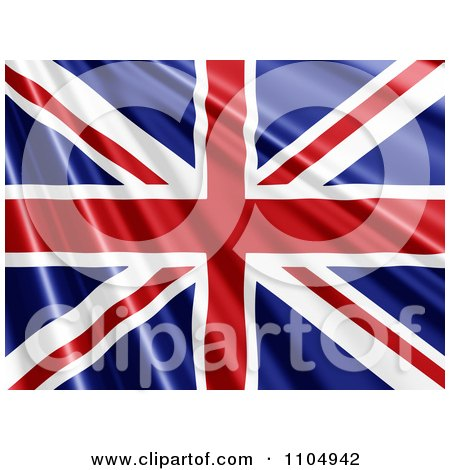 Clipart Rippling Union Jack British Flag - Royalty Free CGI Illustration by KJ Pargeter