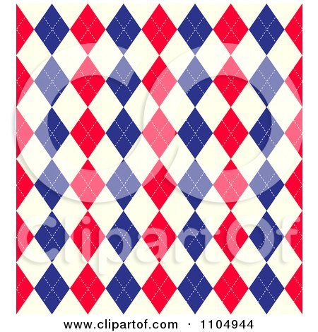 Clipart Seamless Red White And Blue Union Jack Or American Arygle Diamond Pattern - Royalty Free Vector Illustration by KJ Pargeter