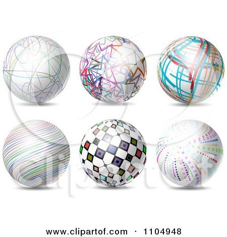 Clipart 3d Spheres With Colorful Patterns - Royalty Free Vector Illustration by KJ Pargeter