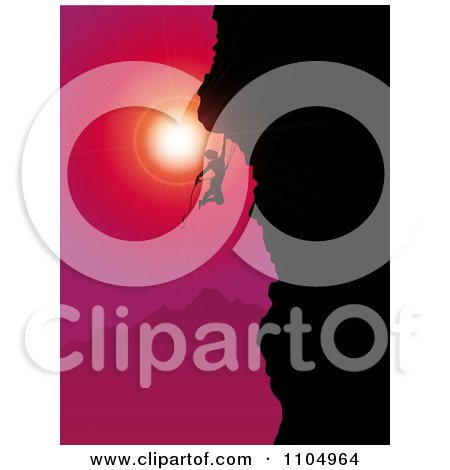 Clipart Silhouetted Rock Mountain Climber Against A Red And Pink Sunset - Royalty Free Vector Illustration by KJ Pargeter