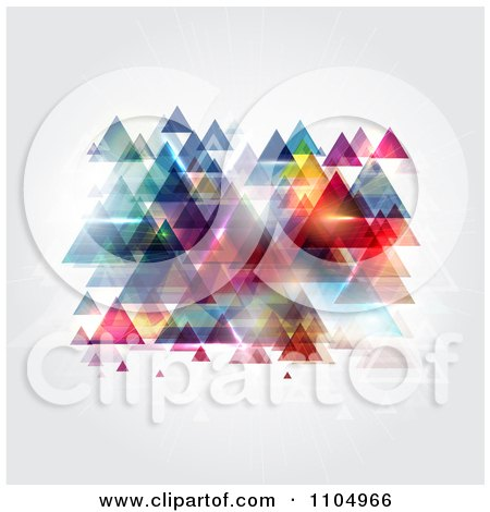 Clipart Colorful Reflective Triangle Pyramids On Gray - Royalty Free Vector Illustration by KJ Pargeter