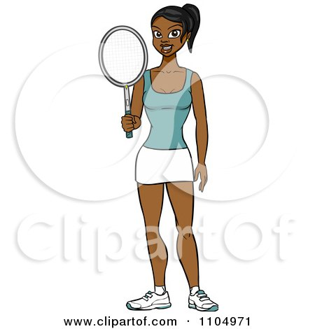 Clipart Athletic Black Woman Holding A Tennis Racket - Royalty Free Vector Illustration by Cartoon Solutions