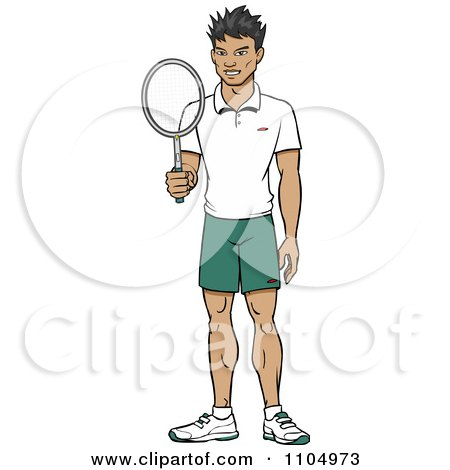 Clipart Happy Asian Tennis Player Man Holding A Racket - Royalty Free Vector Illustration by Cartoon Solutions